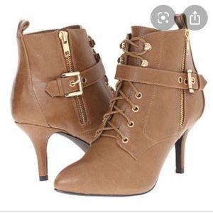 C Label Camel Lace Up Buckle Booties- NEW